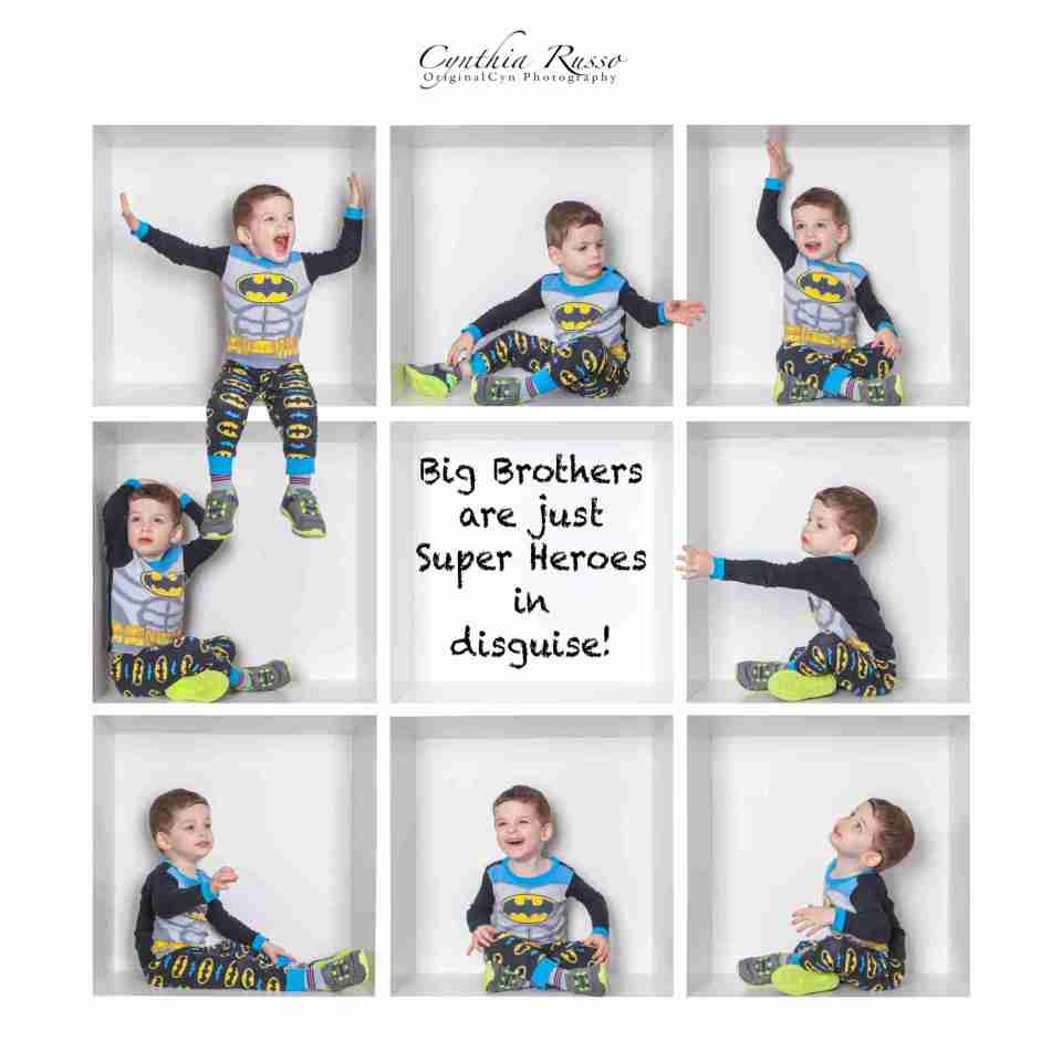 Toddler boys in a composite of photo boxes