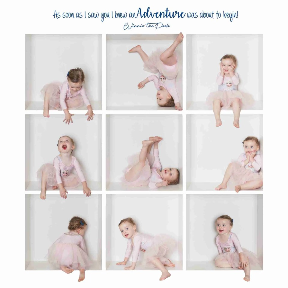 Toddler girls in a composite of photo boxes