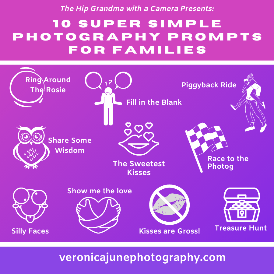 Cheat sheet showing 10 photography prompt for families