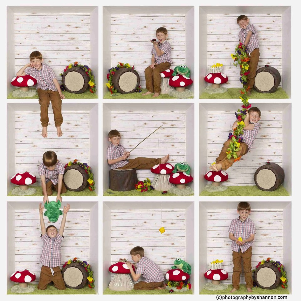 boy fishing and playing in a creative in-the-box photography idea with a log and a giant mushroom
