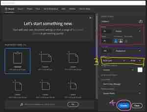 Photoshop screenshot showing how to set up new document