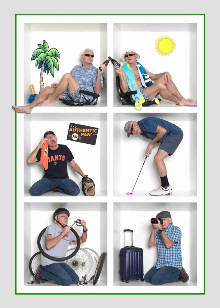 A man shows his many hobbies in a creative in-the-box photography composite