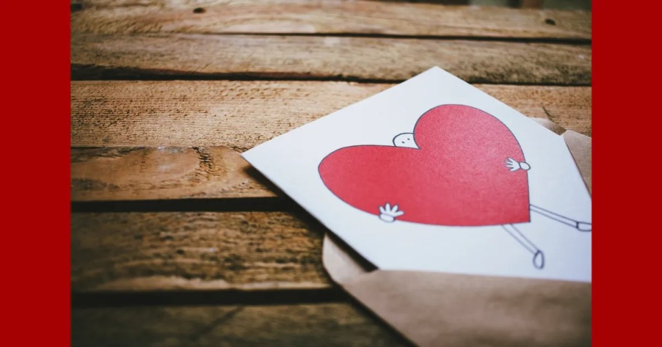 5 minute self care heart letter in an envelope