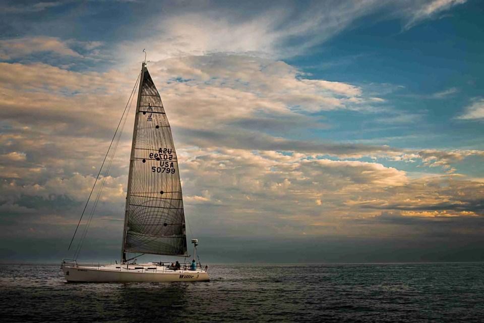 A sailboat near sunset on Lake Michigan