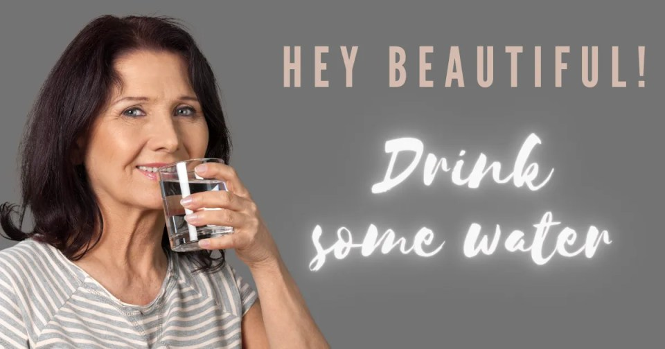 5 minute self care includes water - a woman drinking a glass of water