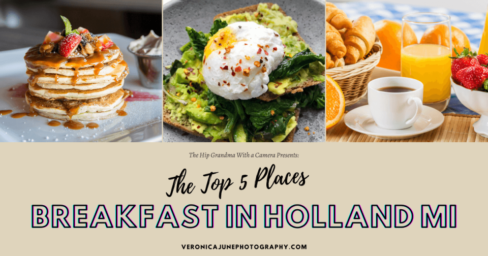 AD image for breakfast in Holland MI showing 3 different breakfast dishes, pancakes, eggs, and coffee