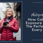AD image for calculating exposure post showing a woman with a camera