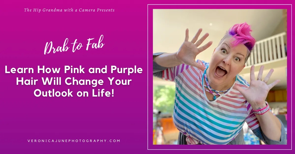AD image for pink and purple hair with woman in striped shirt with pink and purple hair, of course
