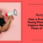 AD image of a woman with a megaphone with the title prompting and posing photoshoot