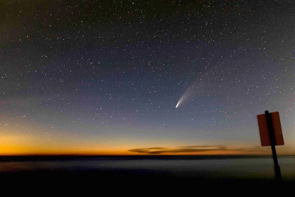 Comet Neowise over Lake Michigan