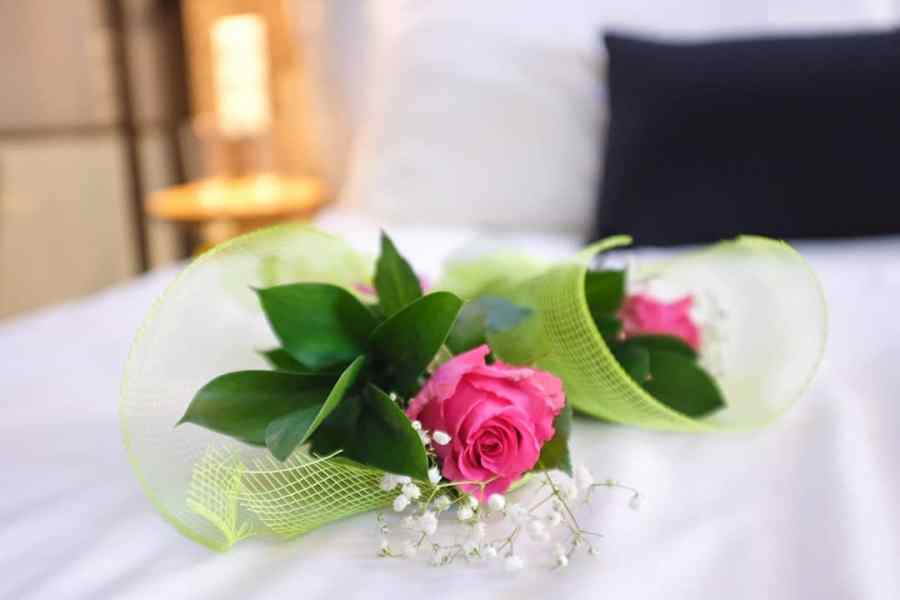 Pink roses in the hotel bed