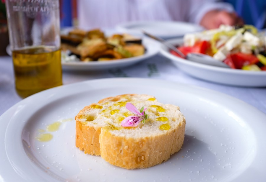Bread with olive oil in restaurant in Thassos Greece