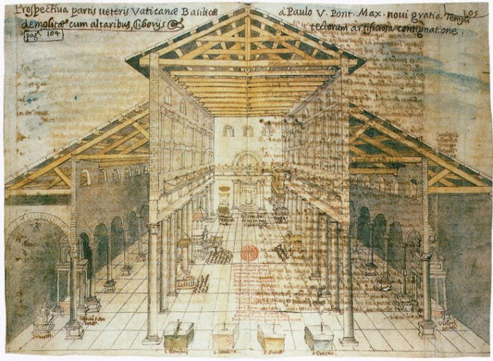 Basilica Costantiniana, disegno Giacomo Grimaldi