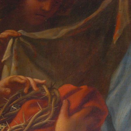 L'Addolorata con gli angeli che recano i simboli della Passione, realizzata per il monastero di Santa Maria dei Sette Dolori, part.