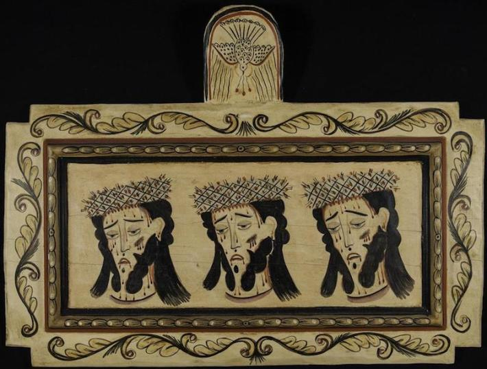Creator: Alcario Otero (American santero, born 1951); Date: 1993; Location: New Mexico; Material: paint on wood panel; Measurements: 45.8 x 25.2 x 2.5 cm; Inscription: on back: The Three Faces of Christ / C. Otero / '93; Notes: Acquisition: 9 June 1996, from Rey Montez [Montez Gallery, Santa Fe]; Accession Number: RU0293-A