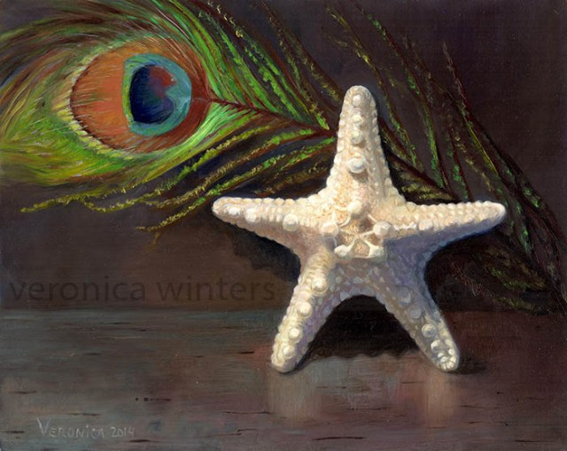 oil painting techniques still life with starfish and peacock feather