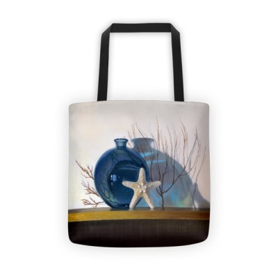 Tote bags for school: Blue vase and Starfish