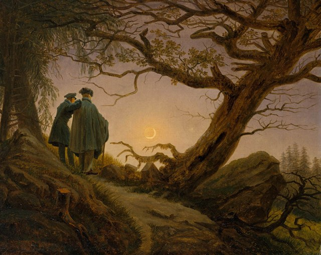 Friedrich, two men contemplating the moon