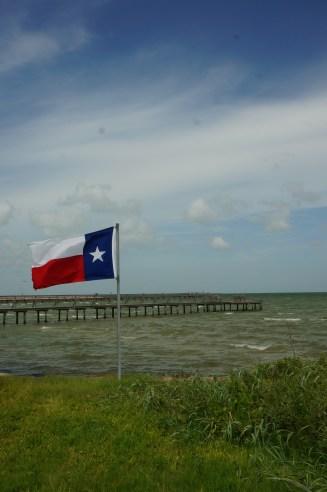 The Texas Flag flying high.