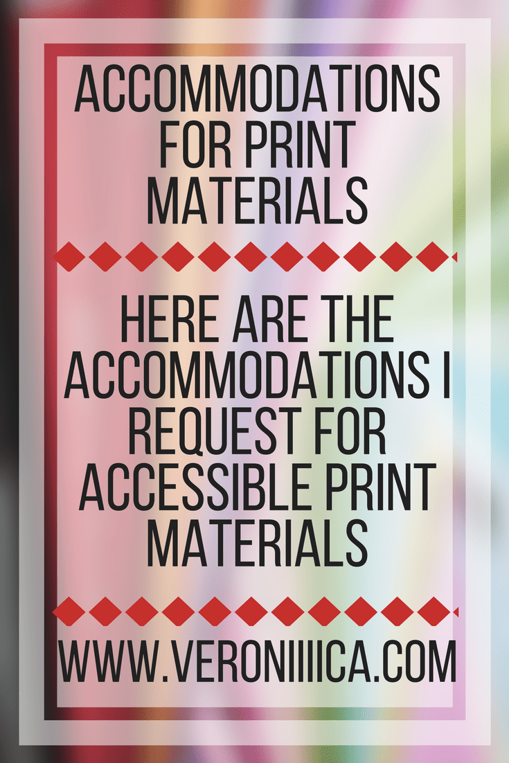 Accommodations for print materials for low vision students