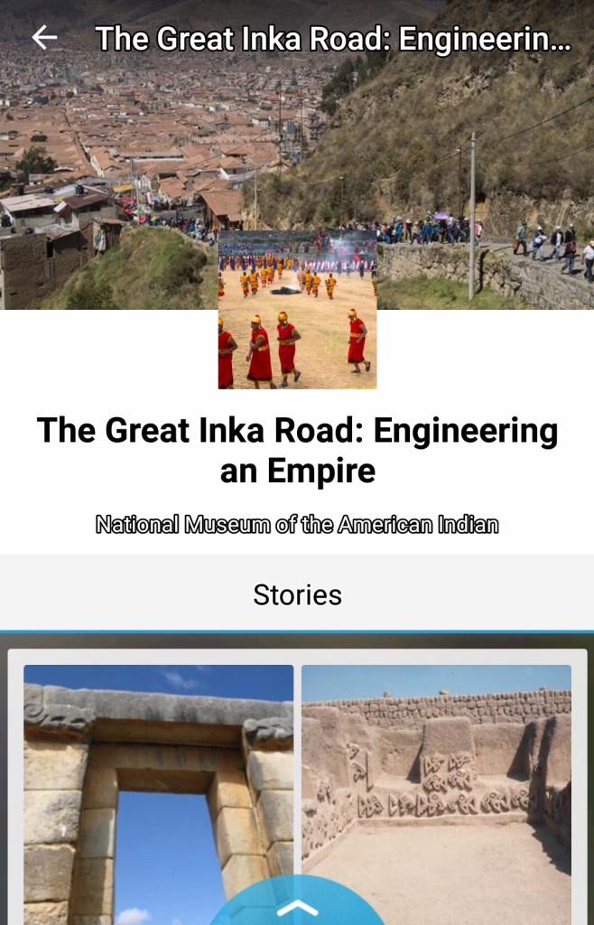 A screenshot of the STQRY app with information on the Incan road