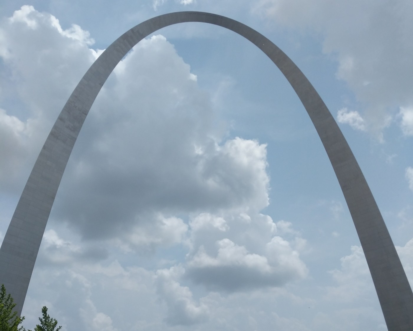 The Gateway arch against the cloudy sky