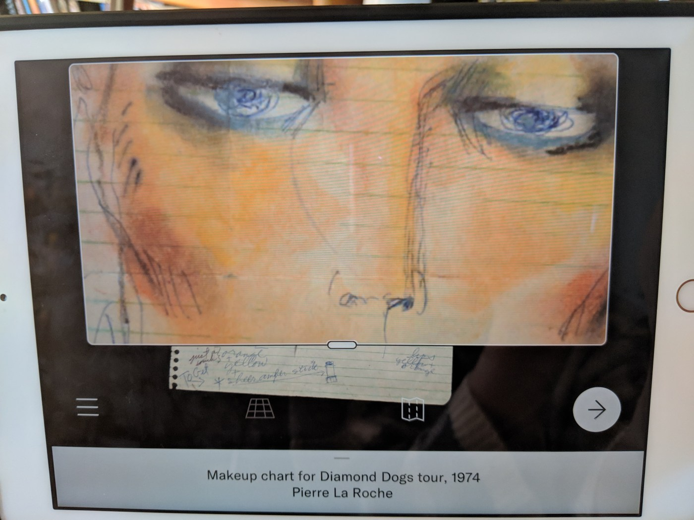 Example of Zoom function on iPad with the makeup chart for the Diamond Dogs tour