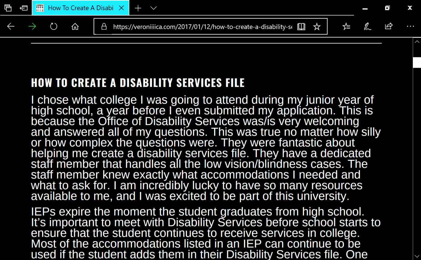 Sample post about creating a disability services file with white text on a black background