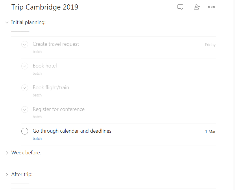 One of my conference travel checklists in Todoist | veronikach.com
