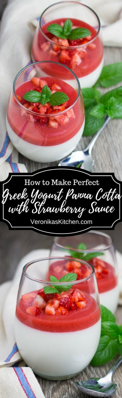 Greek Yogurt Panna Cotta with Strawberry Sauce