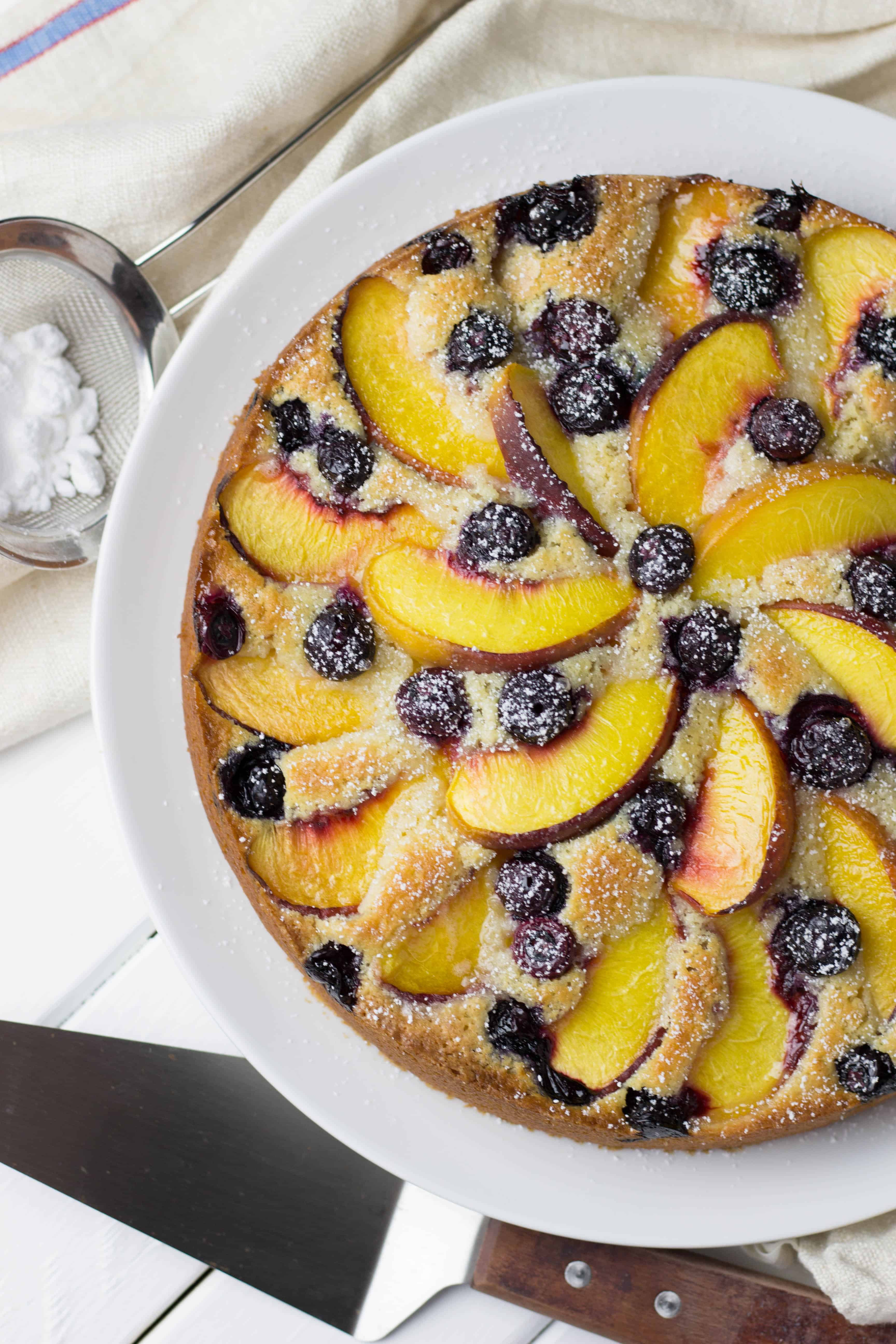 Peach and Blueberry Coffee Cake