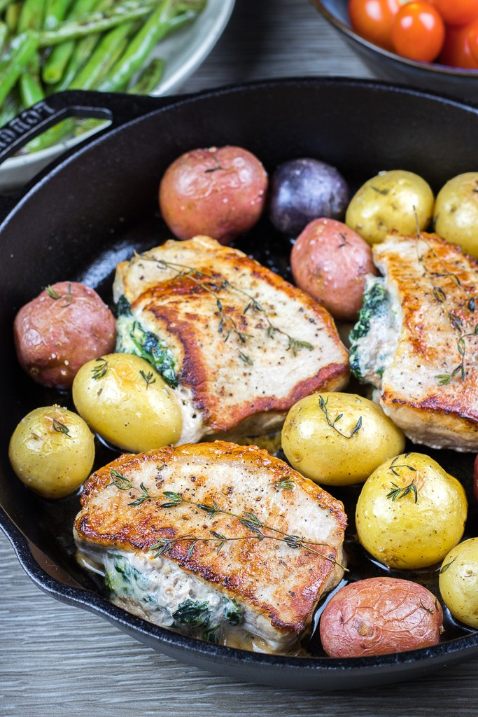 Spinach and Ricotta Stuffed Pork Chops is a great dinner idea that is quick and easy to make during the weeknights.