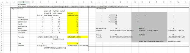 Excel formulas: LEN and SUMPRODUCT
