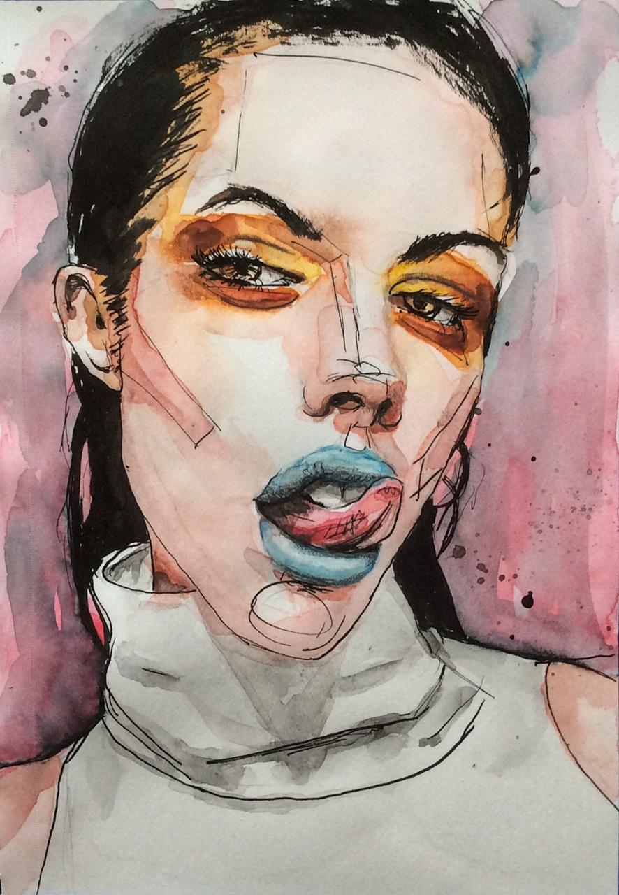 "Ink and watercolor: ""Provocative"""
