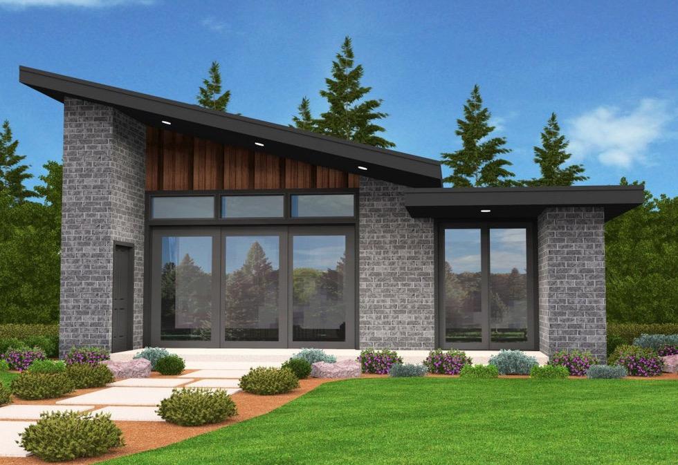 Plano De Cabaña Con Fachada Moderna De 2 Dormitorios