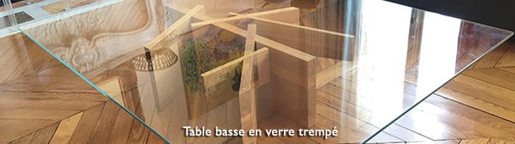 table en verre trempe sur mesure