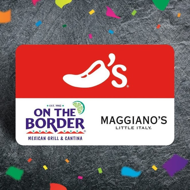 on the border gift card on slate surface with confetti