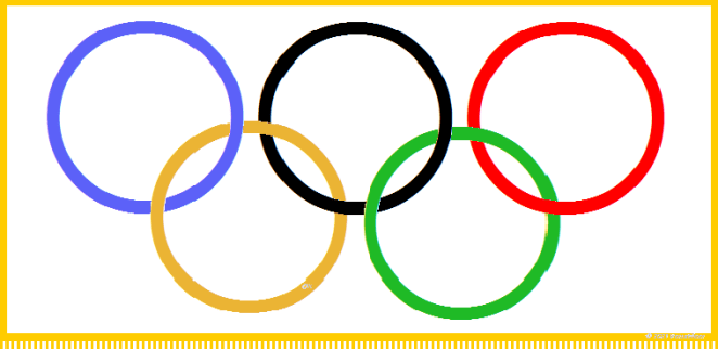 Olympic Flag Gold Background