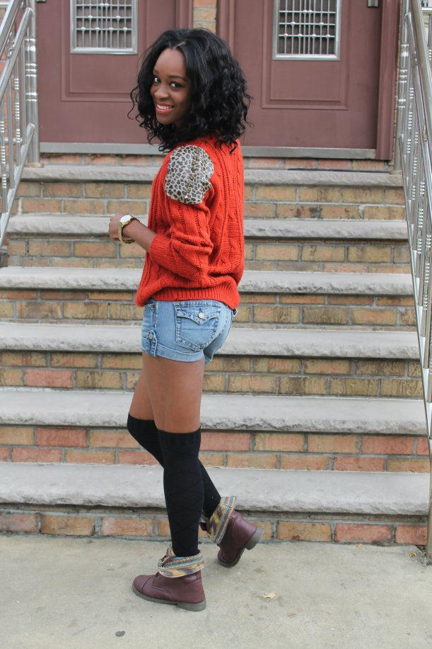 denim shorts knit sweater combat boots