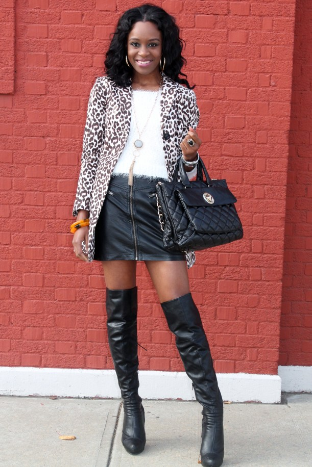 Leather skirt + knee  high boots (11)