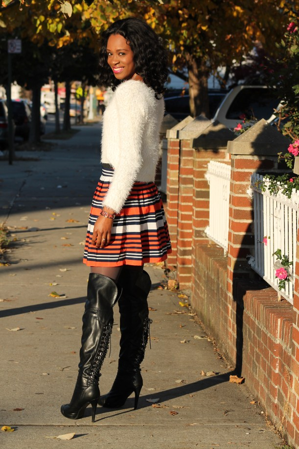 Striped skirt + over the knee boots + fluffy sweater (8)