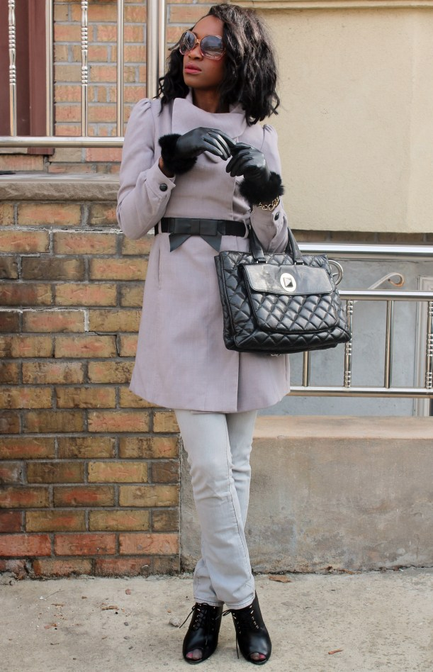 Gray denim + gray coat