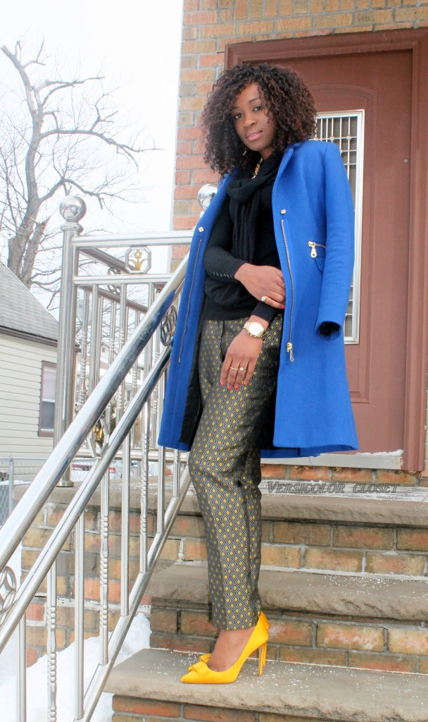 Jacquard pants +satin bow pumps   (2)