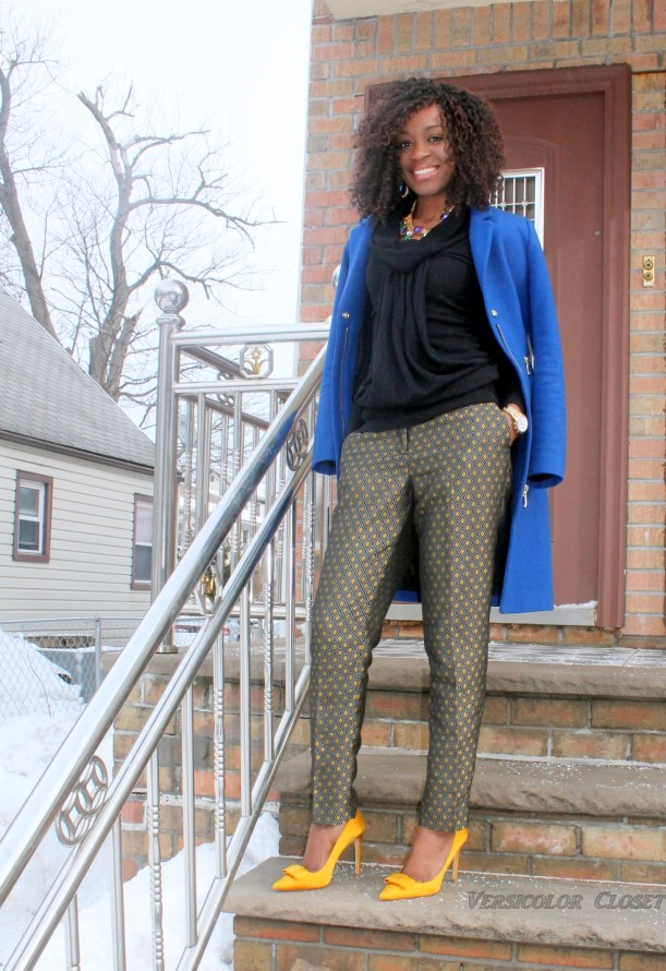Jacquard pants +satin bow pumps   (9)
