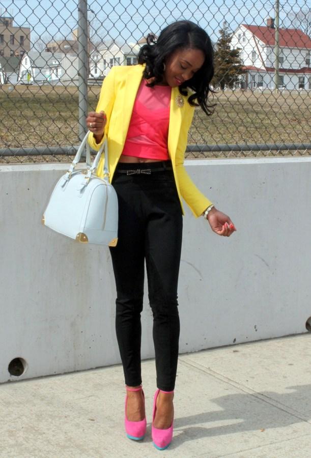 Black trousers + pink croptop + yellow blazer (3)