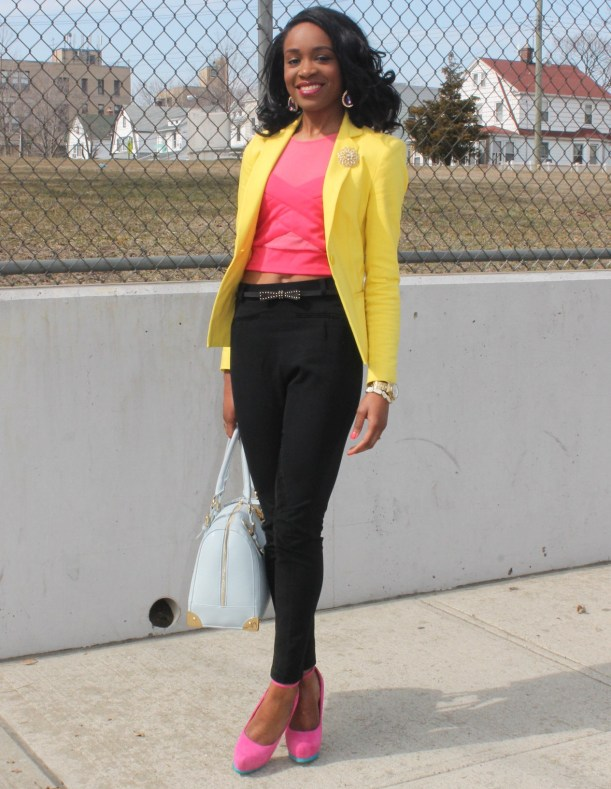 Black trousers + pink croptop + yellow blazer (6)