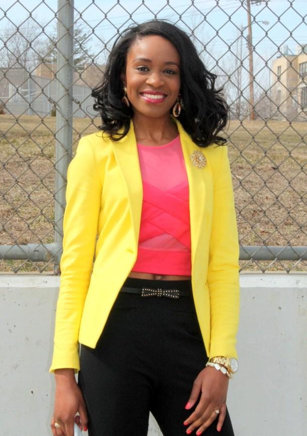 Black trousers + pink croptop + yellow blazer (8)