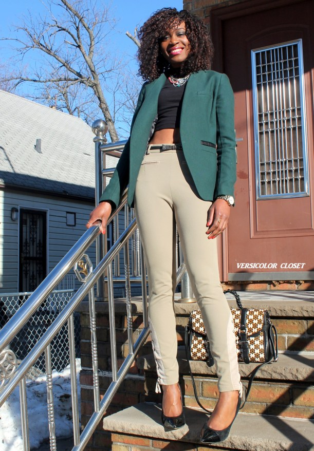 High waist pants + crop top + h&m blazer (1)