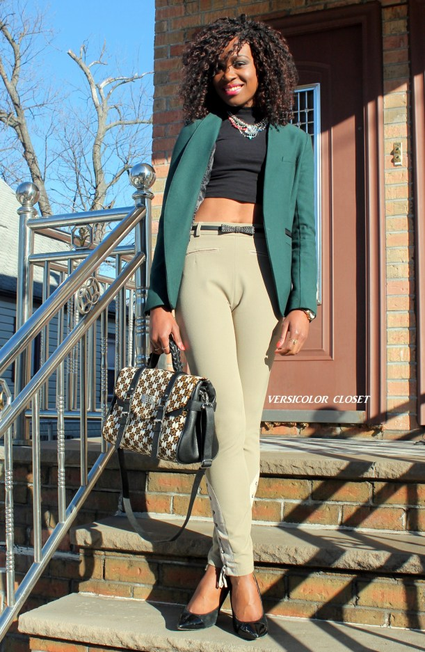 High waist pants + crop top + h&m blazer (2)
