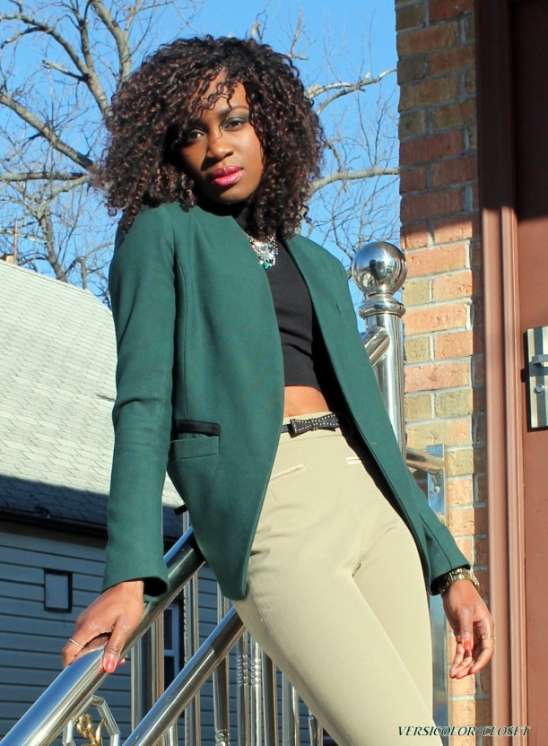 High waist pants + crop top + h&m blazer (7)